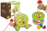 Joueco Rolling wooden turtle figure with 80061 activities