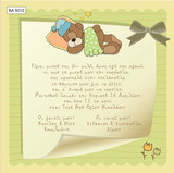BA5012 Baby Christening Invitation Sleepy Bear
