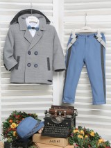 Mi Chiamo Winter Christening Suit A4216G Grey-Light Blue 12-18M