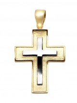 Cross 14Κ Gold and White Gold Pendant SIO51312