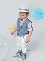 Bonito Christening Suit Light Blue-White 19100