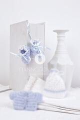 Christening Bonbonniere  knitted Shoes 700045